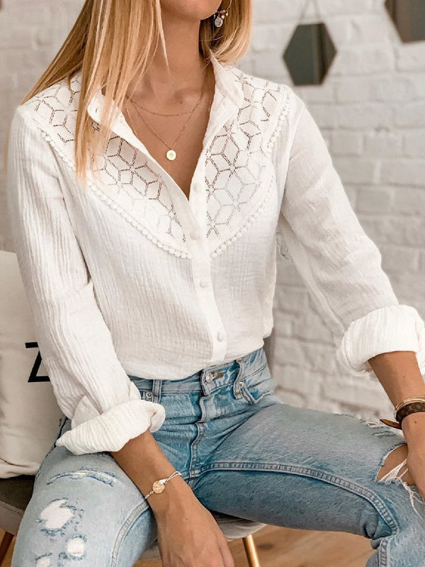 Casual Plus Size V Neck Lace Cutout Shirts Tops