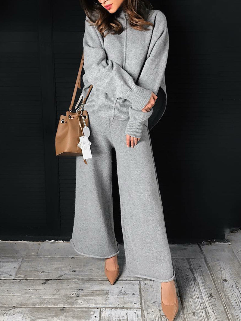 Knitted Long Sleeve Turtle Neck Casual Suits