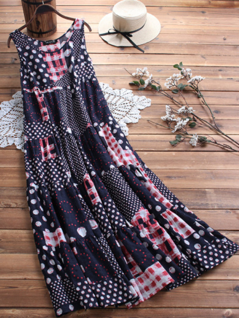 Sleeveless A-Line Printed Casual Maxi Dresses