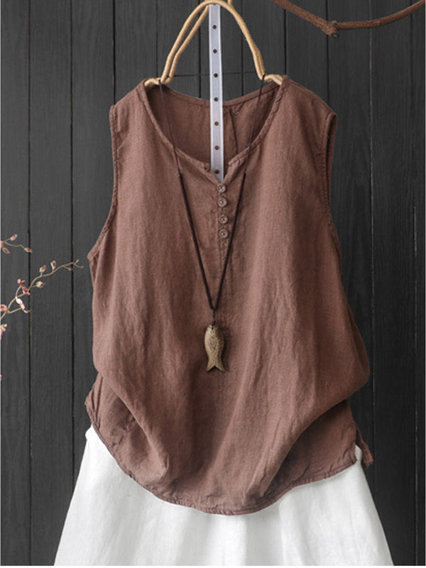 Sleeveless Casual Round Neck Shirts & Tops