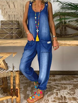 Women Light Blue Pockets Casual U-Neck One-Pieces Jeans Pants Overalls