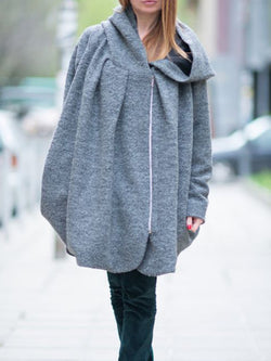 Light Gray Casual Hoodie Solid Outerwear