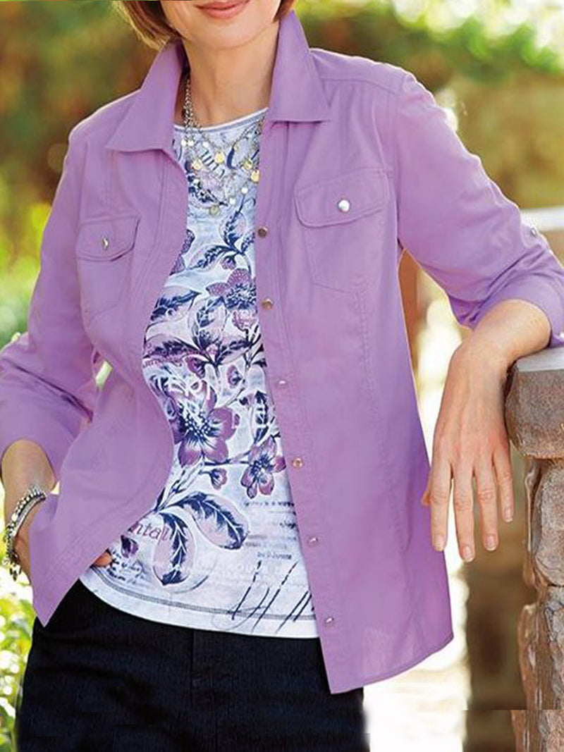 Purple Cotton-Blend Solid Casual Shirts