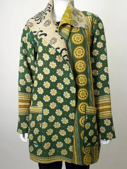 Green Printed Vintage Shawl Collar Long Sleeve Outerwear