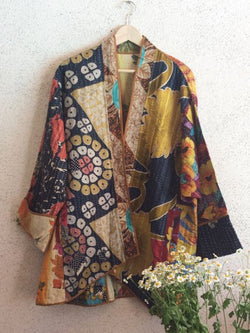 Plus Size V Neck Long Sleeve Floral Outerwear