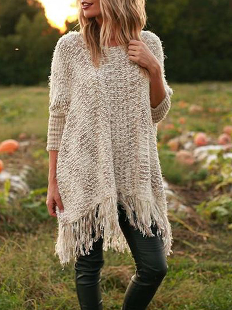 Round Neck Tassel Long Sleeve Casual Knitted Sweater