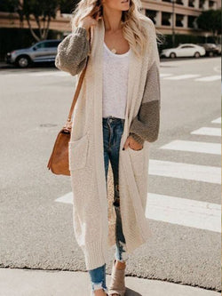 Apricot Patchwork Color-Block Knitted Casual Outerwear