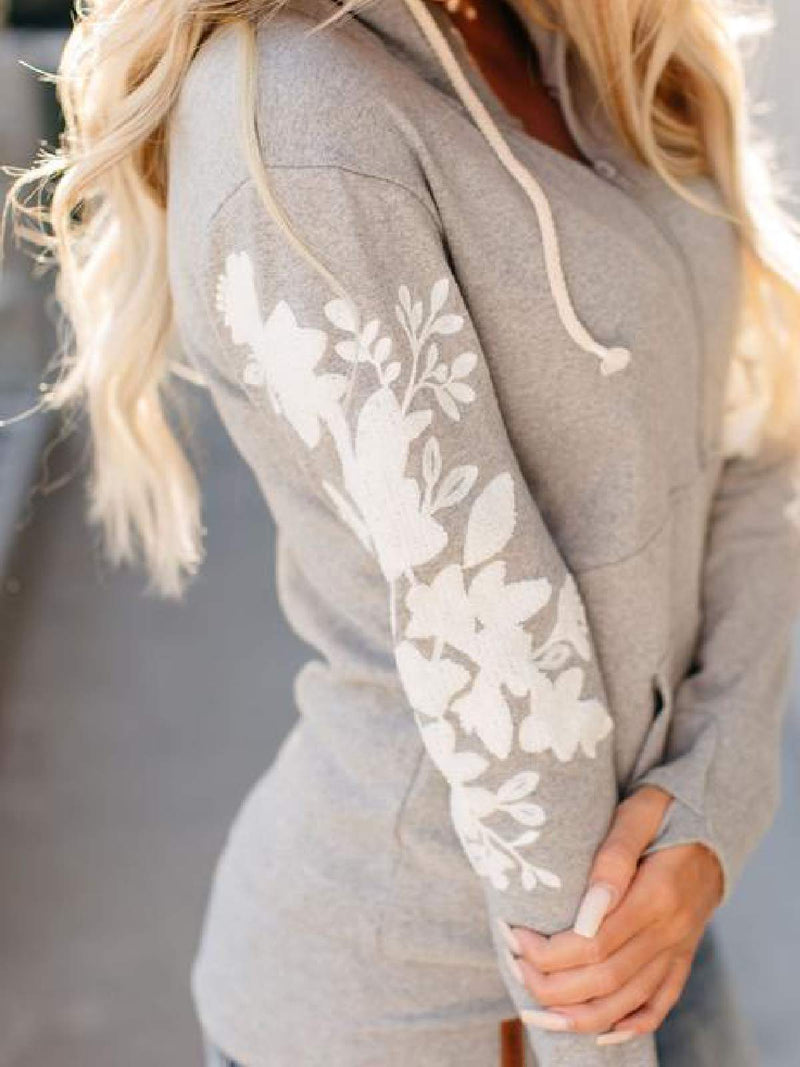 Light Gray Long Sleeve Hoodie Shirts & Tops