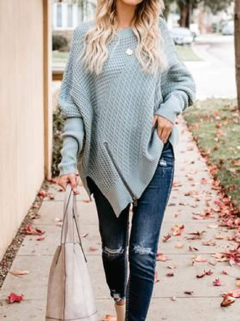 Olive Green Asymmetrical Knitted Vintage Sweater