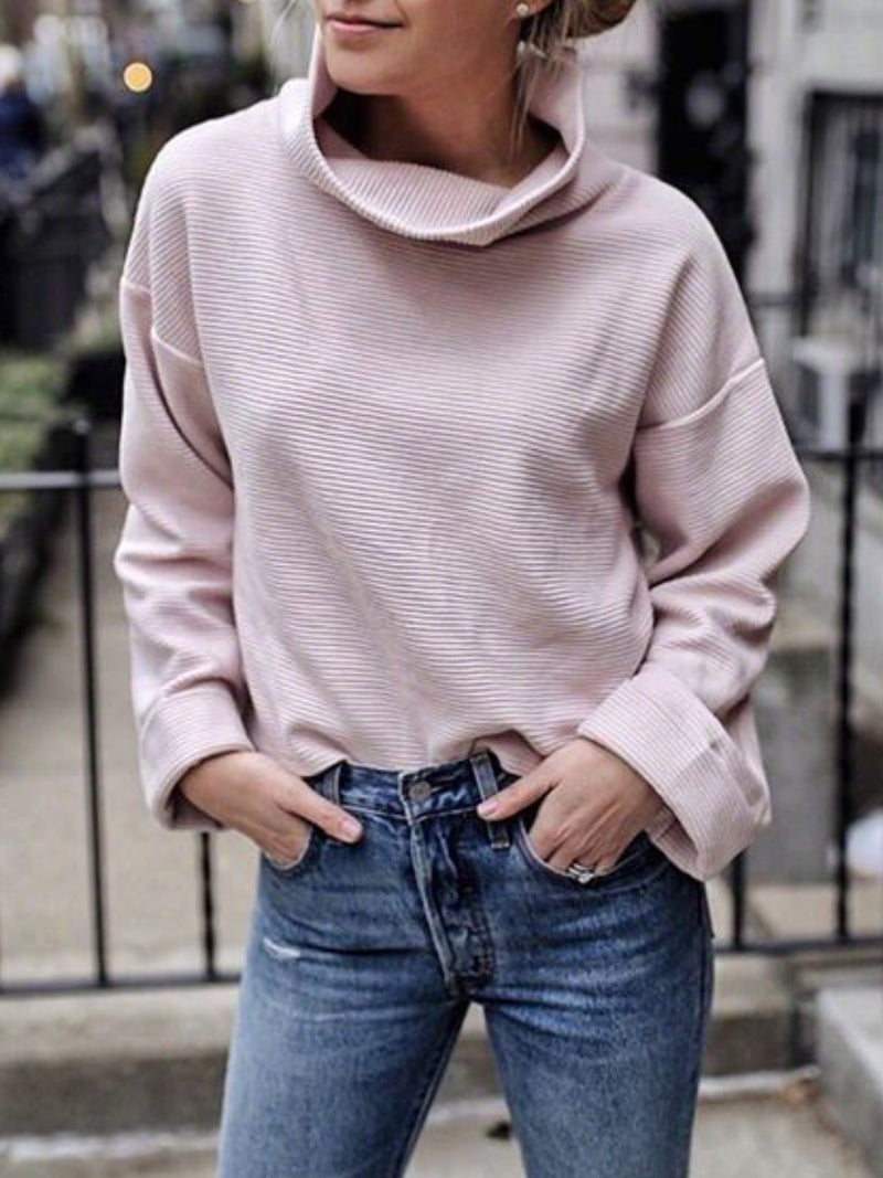 Solid Turtleneck Casual Long Sleeve Tops