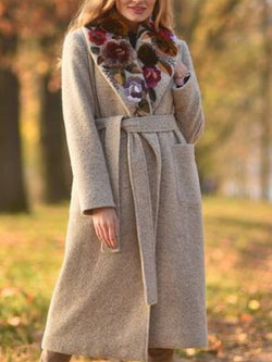 Apricot Casual Pockets Cotton-Blend Lapel Outerwear