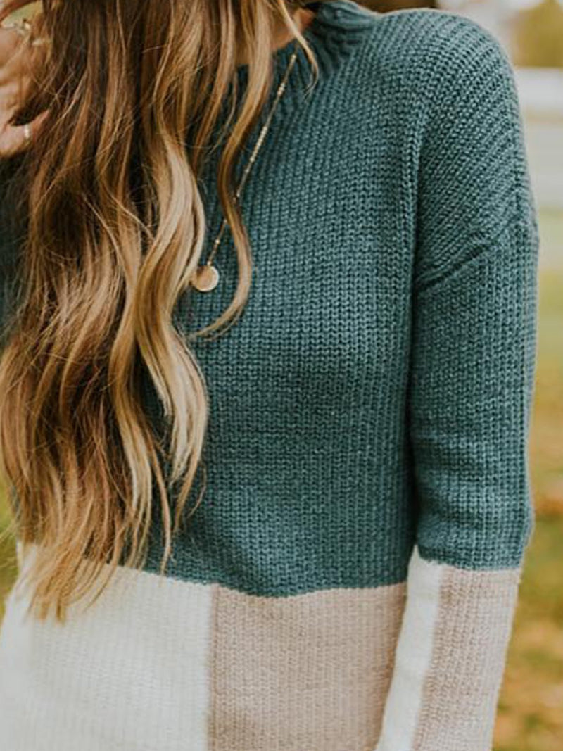 Green Patchwork Knitted Long Sleeve Color-Block plus size Sweater