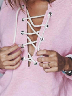 Cotton Lace-Up Casual Sweatshirt