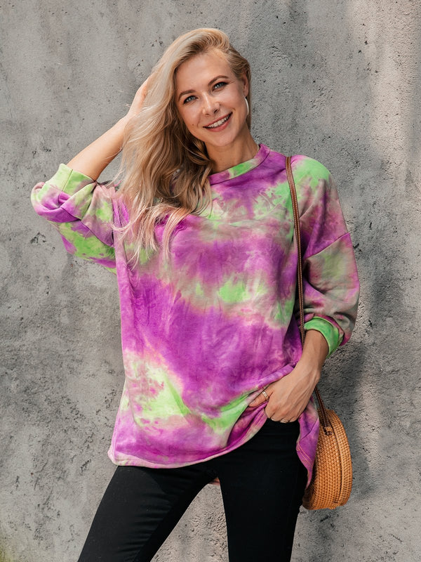 Long Sleeve Dip-Dyed Cotton-Blend Crew Neck Shirts & Tops