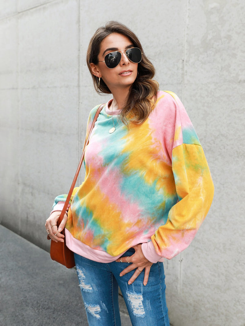 Sleeve Color-Block Ombre/tie-Dye Shirts & Tops