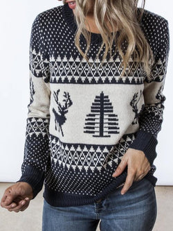 Casual Printed/dyed Knitted plus size Sweater