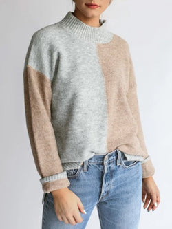 Light Gray Turtleneck Casual Sweater