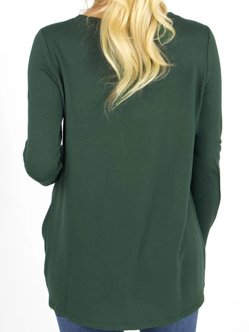 Plus Size Plain Twisted Design Long Sleeve Casual Tops
