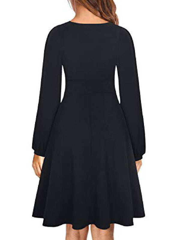 Solid Casual A-Line Long Sleeve Dresses