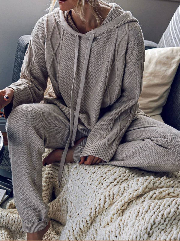 Gray Casual Hoodie Cotton-Blend Long Sleeve Sweaters Suits