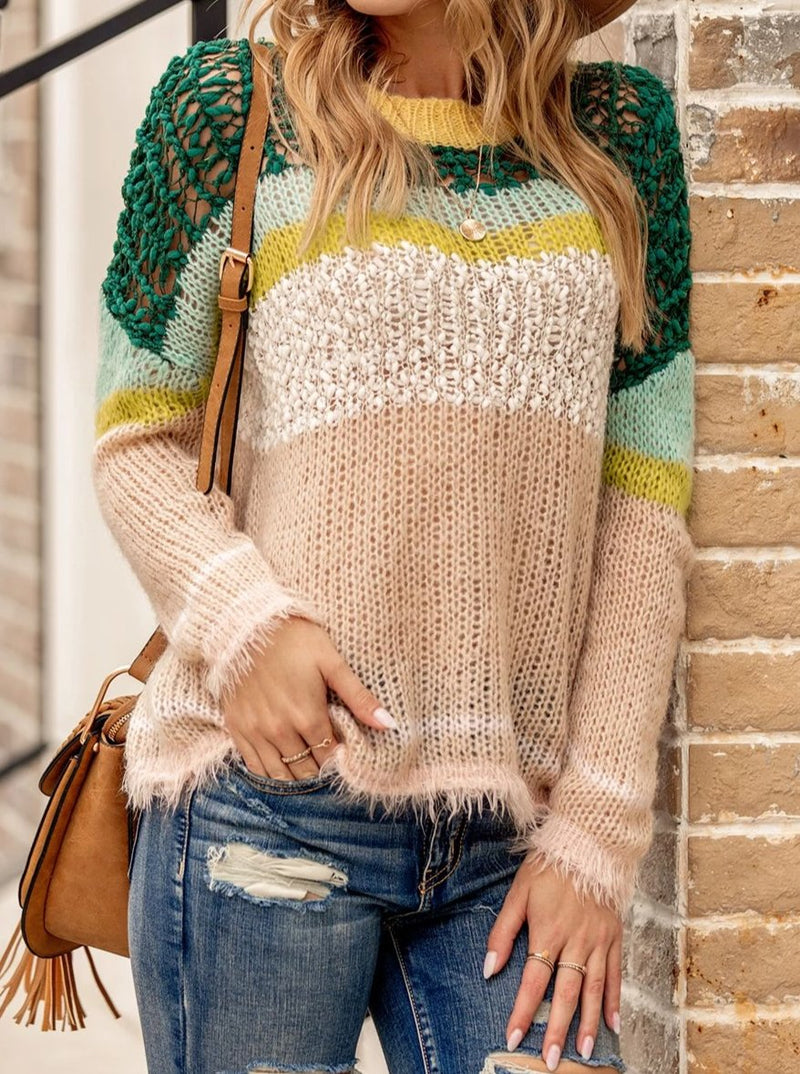 Women Casual Cutout Crew Neck Sweater