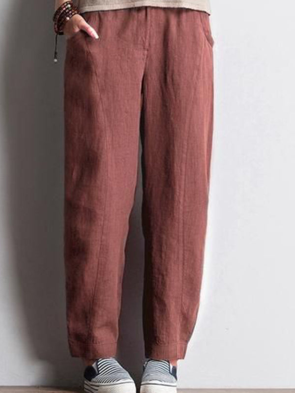 Red Brown Solid Pockets Casual Pants