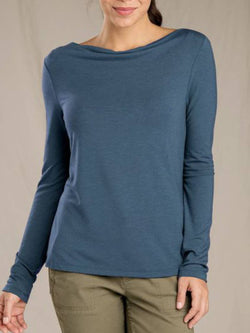 Blue Casual Cotton-Blend Long Sleeve Crew Neck Shirts & Tops