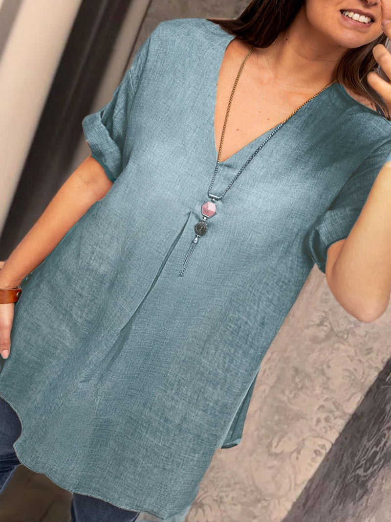 Fashion Cotton-Blend Short Sleeve Causal Tops