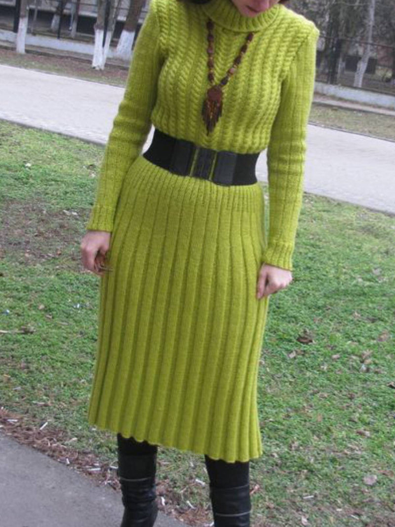 Long Sleeve Turtleneck Casual Dresses
