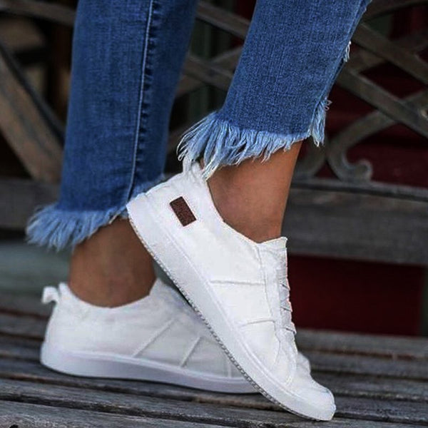 Womens Casual Lace-Up Canvas Flat Heel Sneakers