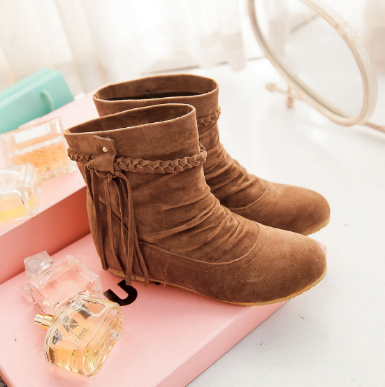 Daily Artificial Nubuck Flat Heel Lace-up Boots