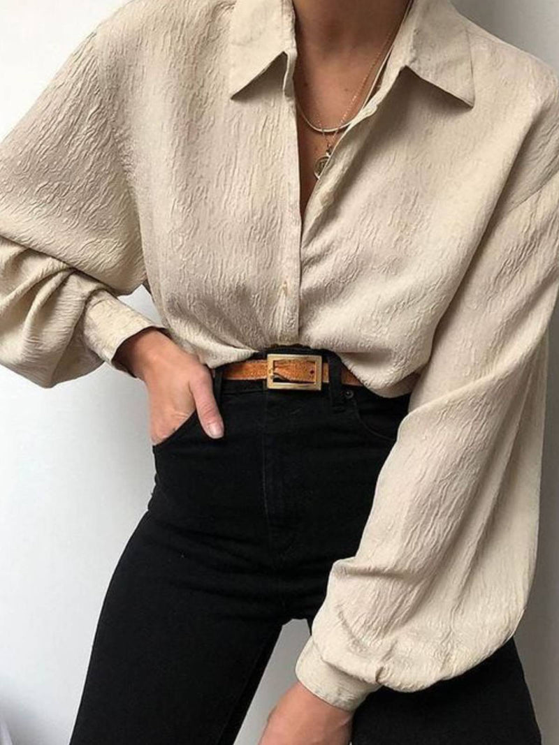 Champagne Plain Casual Shift Shirts & Tops
