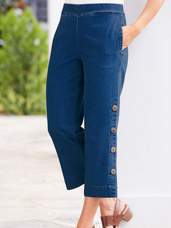 Buttoned Denim Pants