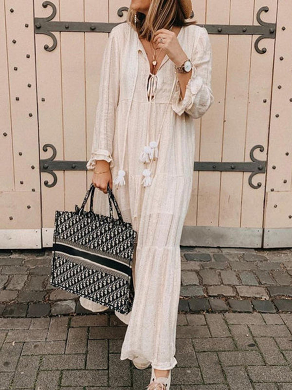 Plus Size Tassel Long Sleeve Women Maxi Dresses