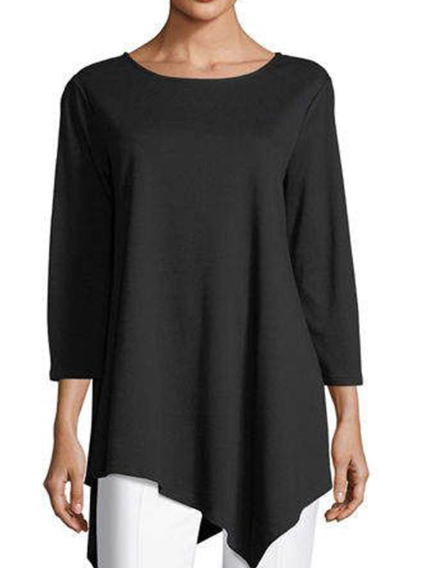 Black Asymmetrical Casual Cotton-Blend Shirts & Tops