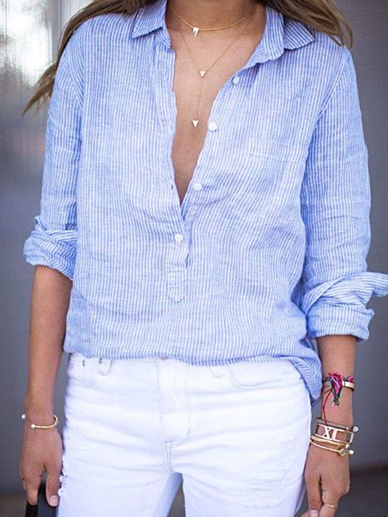 Light Blue Shift Casual Long Sleeve Stripes Shirts & Tops
