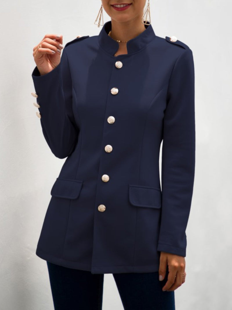 Casual Long Sleeve Buttoned Outerwear