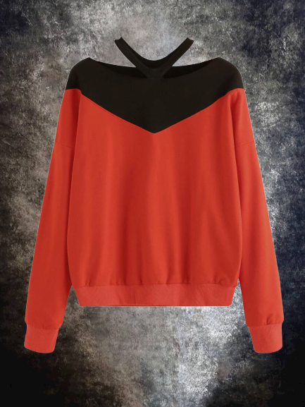 Red Cotton Casual Sweatshirt