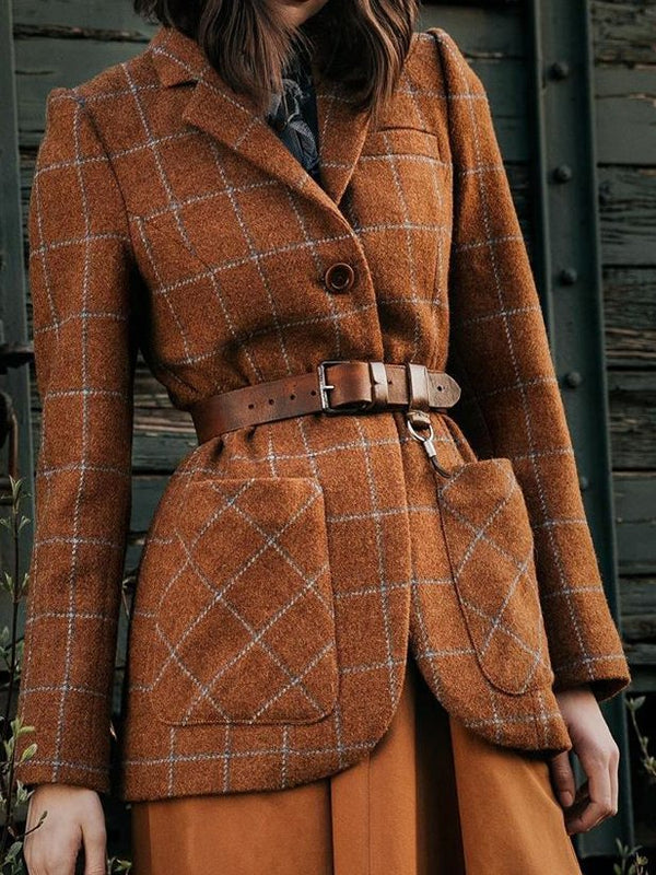 Red Brown Elegant Checkered/plaid Lapel Outerwear