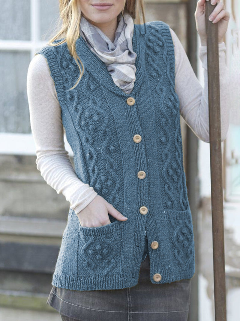 Solid Knitted Sleeveless Buttoned Sweater