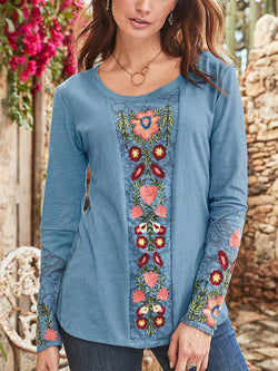 Casual Floral Comfortable Embroidery Shirts