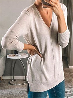 Autumn Casual Basic Daily V-neck Long Sleeve Knitted Top