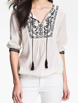 White Embroidered Long Sleeve Shirts & Tops