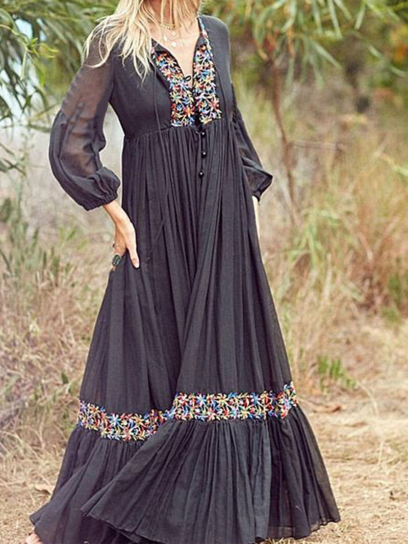 Black A-Line V Neck Long Sleeve Dresses