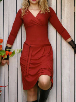 Red Sheath Long Sleeve Dresses
