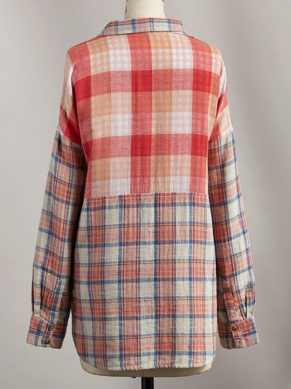 Red Checkered/plaid Casual Cotton-Blend Shirts & Tops