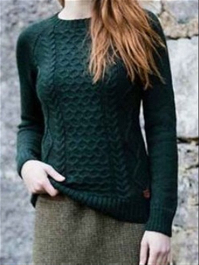 Autumn Winter Casual Basic Crew Neck Knitted Sweater