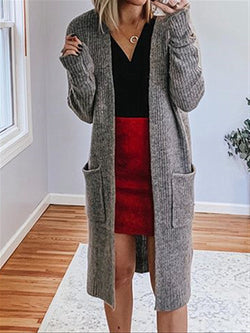 Autumn Winter Casual Basic Daily Long Knitted Cardigan