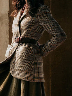 Gray Long Sleeve Checkered/plaid Outerwear