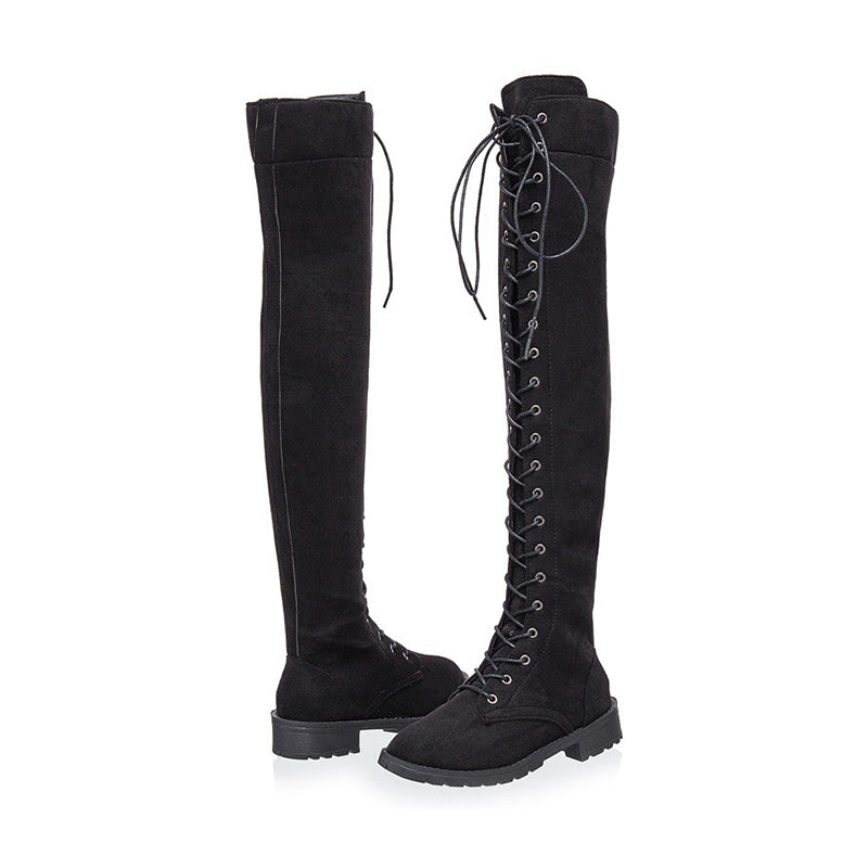 Women Knee-High Low Heel Lace-Up Martin Boots